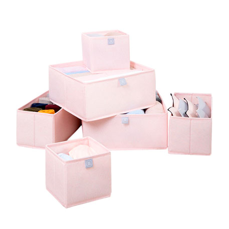 Nature Household 6 Piece Fabric Storage Bin Set Pink