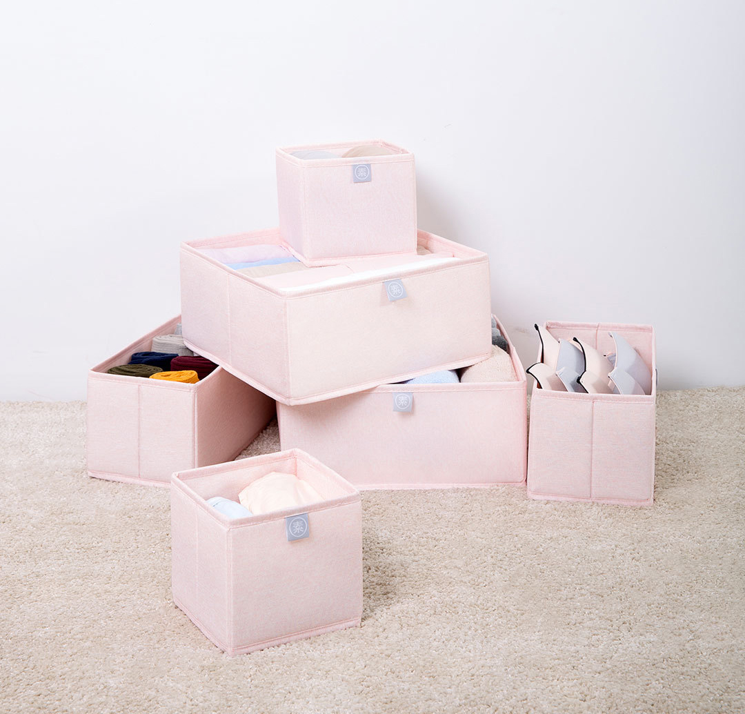 Nature Household 6 Piece Fabric Storage Bin Set Pink Photo 7